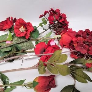 Long Stemmed Red Florals Roses Hydrangia